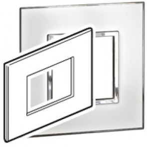 Plate Arteor - Italian / US standard - square - 3 modules - mirror white