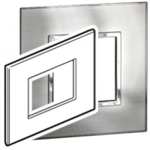 Plate Arteor - Italian / US standard - square - 3 modules - stainless steel