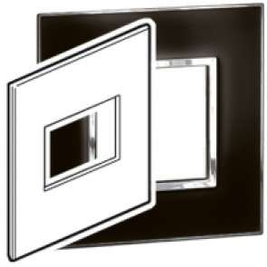 Plate Arteor - US standard - square - 3 modules - 4''x4'' - mirror black