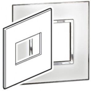 Plate Arteor - US standard - square - 3 modules - 4''x4'' - mirror white