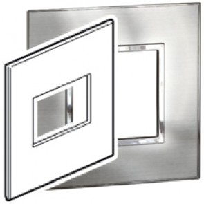 Plate Arteor - US standard - square - 3 modules - 4''x4'' - stainless steel