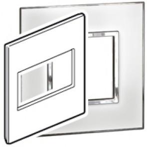 Plate Arteor - US standard - square - 4 modules - 4''x4'' - mirror white