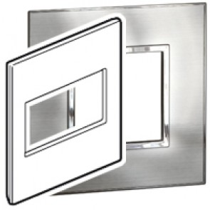 Plate Arteor - US standard - square - 4 modules - 4''x4'' - stainless steel