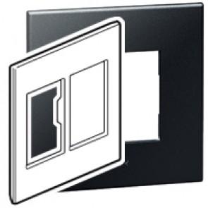 Plate Arteor - American standard - square - 2 x 3 modules - 4''x4'' - graphite