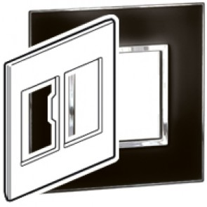 Plate Arteor - US standard - square - 2 x 3 modules - 4''x4'' - mirror black