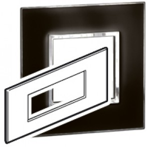 Plate Arteor - British standard - square - 6 modules - mirror black