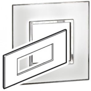 Plate Arteor - Italian/French/German standard - square - 6 modules - mirror white