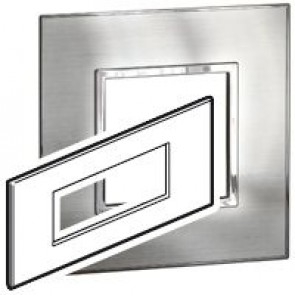 Plate Arteor - British standard - square - 6 modules - stainless style