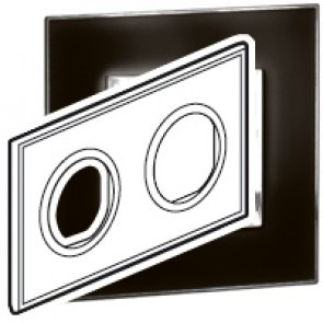 Plate Arteor - French/German standard - round - 2 x 2 modules - mirror black
