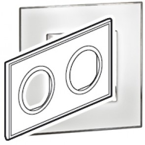 Plate Arteor - French/German standard - round - 2 x 2 modules - mirror white