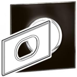 Plate Arteor - British standard - round - 3 modules - mirror black