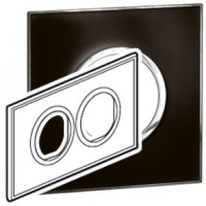 Plate Arteor - British standard - round - 4 modules - mirror black