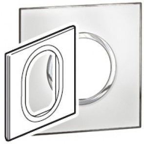 Plate Arteor - British standard - round - 3 modules 1-gang - mirror white
