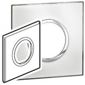 Plate Arteor - British standard - round - 2 modules - mirror white