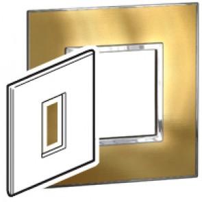Plate Arteor - British standard - square - 1 module - gold brass