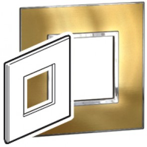 Plate Arteor - British standard - square - 2 modules - gold brass