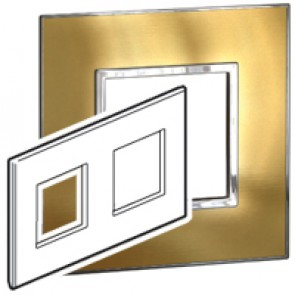 Plate Arteor - British standard - square - 4 modules - gold brass