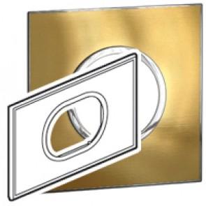 Plate Arteor - British standard - round - 3 modules - gold brass