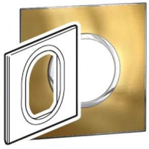 Plate Arteor - British standard - round - 3 modules 1-gang - gold brass