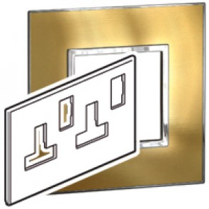 Plate Arteor - BS - square - switched sockets 2-gang - gold brass