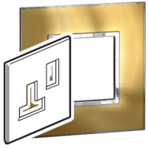 Plate Arteor - BS - square - switched sockets 1-gang - gold brass