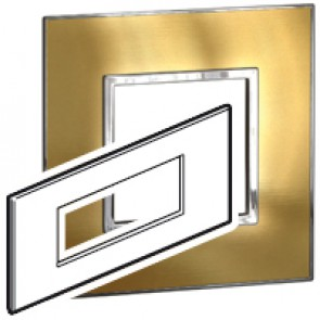 Plate Arteor - British standard - square - 6 modules - gold brass