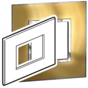 Plate Arteor - Italian / US standard - square - 3 modules - gold brass