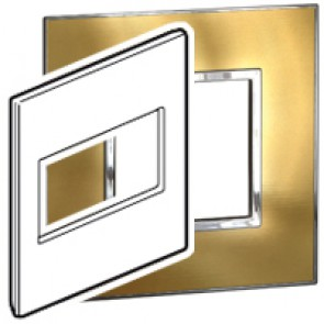 Plate Arteor - US standard - square - 4 modules - 4''x4'' - gold brass