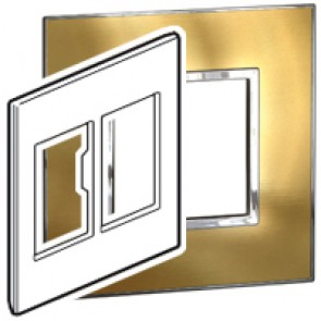 Plate Arteor - US standard - square - 2 x 3 modules - 4''x4'' - gold brass