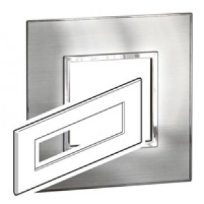Plate Arteor - British standard - square - 8 modules - stainless steel
