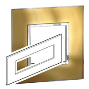 Plate Arteor - British standard - square - 8 modules - gold brass