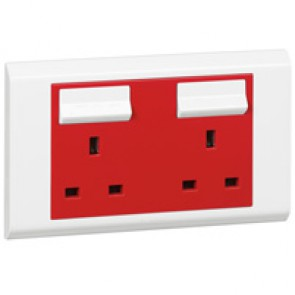 BS socket outlet Belanko - 2 gang Single Pole switched red cover + neon - 13 A 250 V~