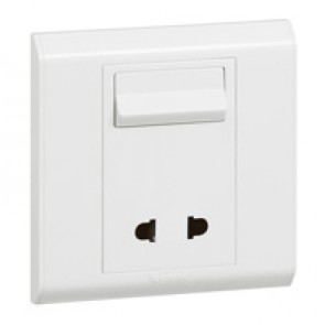 Euro/US socket outlet Belanko - 1 gang - 2P + switch - 10 A- 250 V~/15 A-127 V~