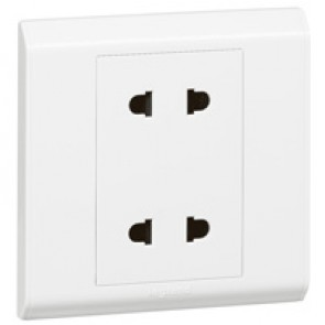 Euro/US socket outlet Belanko - 1 gang - 2 x 2P - 10 A- 250 V~/15 A-127 V~