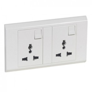 Multistandard switched socket outlet Belanko - 2 gang - white