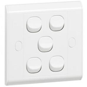 Single pole switch Belanko - 5 gang - 1-way switch - small rocker