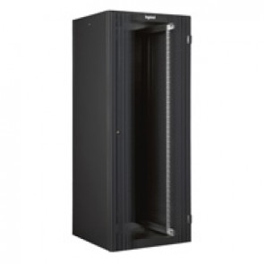 "Linkeo 19"" freestanding cabinet with single front glass door - capacity 24U -dimensions 1226x600x600 mm -ready-assembled"
