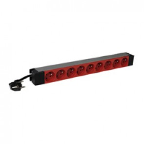 "19"" PDU LCS³ - 1 U - 9 x 2P+E - French standard - tamperproof red outlets"