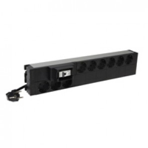 "19"" PDU LCS³ - 1U - 9 x 2P+E - German standard - 16 A 1P MCB - height 2U - 3 m power supply cord with 16 A 2P+E plug"
