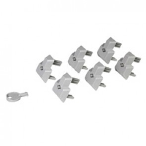 Set of 6 locking caps for British standard outlet + 1 key - for PDU LCS³