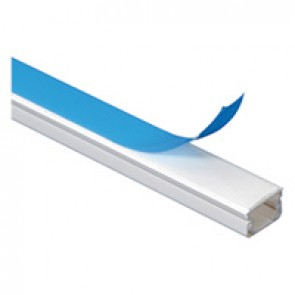 Cable guide - 32 x 16 mm - L. 2.10 m - with adhesive - white