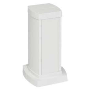 Universal mini-column - 2 compartments - height 0.30 m - aluminium body and covers - white finish