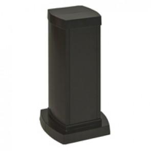 Universal mini-column - 2 compartments - height 0.30 m - aluminium body and covers - black finish