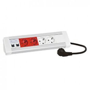 Desktop multi-outlet extension - 2x2P+E + 2x2P+E tamperproof + 2xRJ45 category 6 UTP