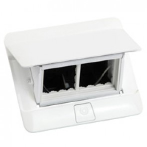 Pop-up flush-mounting box to be equipped - 4 modules - glossy white