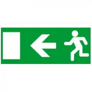 Label - for emergency lighting luminaires - exit door on left - 310x112 mm