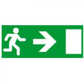 Label - for emergency lighting luminaires - exit door on right - 310x112 mm