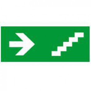 Label - for emergency lighting luminaires - stairs on right - 310x112 mm