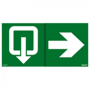 Label - for emergency lighting luminaires - exit door on right - 100 x 200 mm