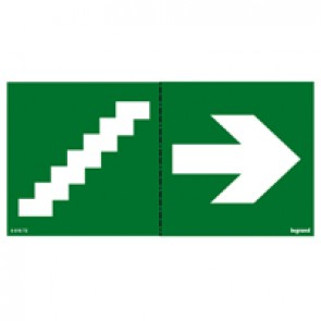 Label - for emergency lighting luminaires - stairs on right - 100 x 200 mm